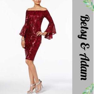 NWT Wine Sequin Off Shoulder Sequin Cocktail Dress